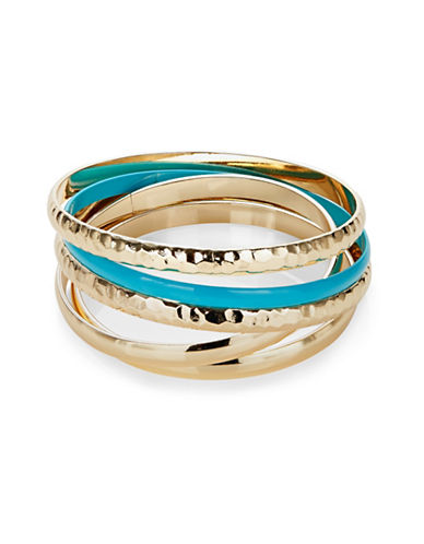 Expression Five-Pack Hammered Goldtone and Plain Bracelet-BLUE-One Size