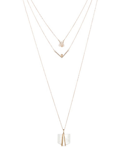 Expression Three-Row Geo Stone Necklace-PINK-One Size
