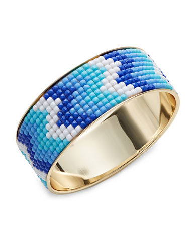 Expression Pixelated Zigzag Bangle Bracelet-BLUE-One Size