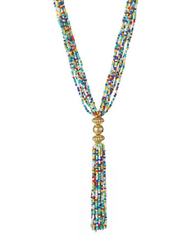 Expression Tassel Seed Bead Necklace-MULTI-One Size