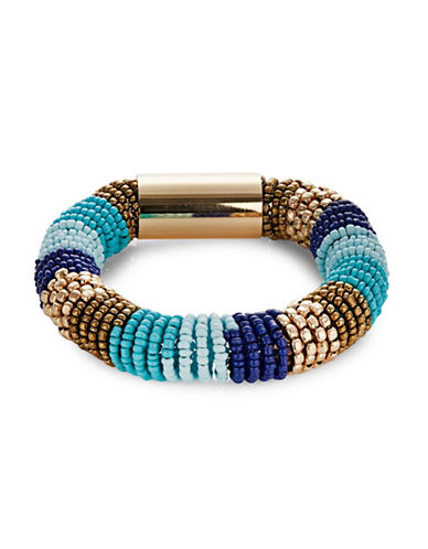 Expression Banded Seedbead Coil Bracelet-BLUE-One Size
