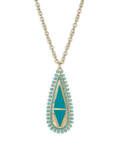 Expression Teardrop Pendant Necklace-BLUE-One Size