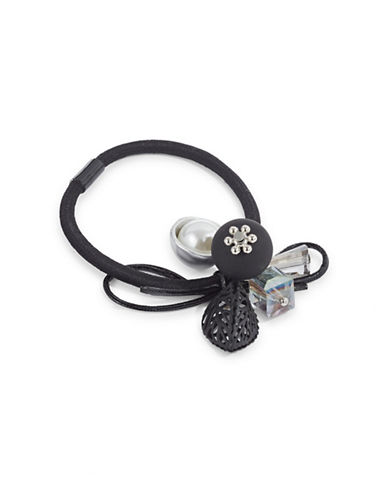 Expression Cubic Stones Hair Tie-BLACK-One Size