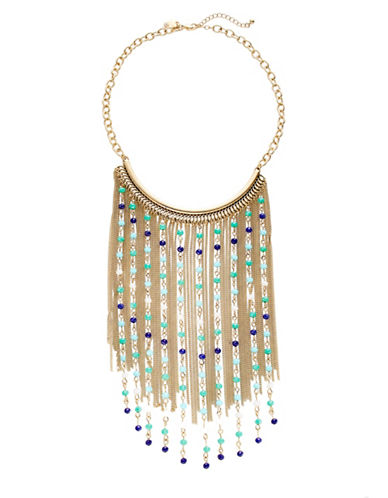 Expression Beaded Half-Moon Necklace-BLUE-One Size