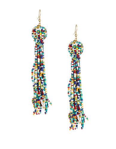 Expression Multi Seed Bead Tassel Earrings-MULTI-One Size