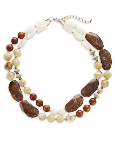 Expression Two-Row Stone Bead Necklace-BROWN-One Size