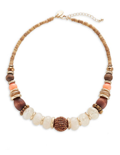 Expression Wood and Cat Eye Beaded Necklace-ORANGE-One Size