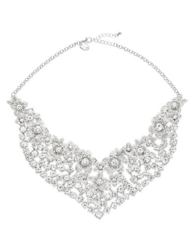 Expression Multi-Row Floral Collar Necklace-SILVER-One Size