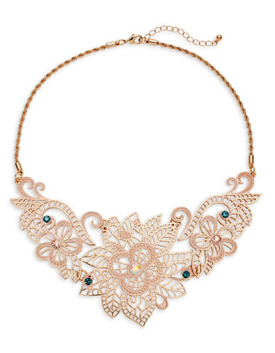 Expression Flower Filigree Casting Statement Necklace-PINK-One Size