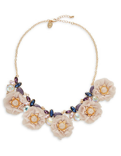 Expression Chiffon Flower Frontal Necklace-PINK-One Size