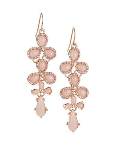 Expression Teardrop Pave Earrings-PINK-One Size