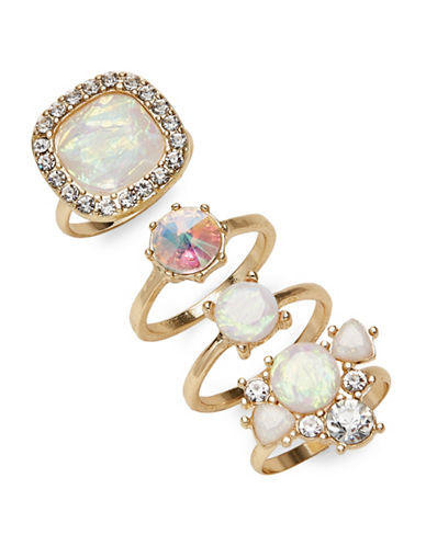 Expression Four-Piece Faceted Stone Ring Set-WHITE-8