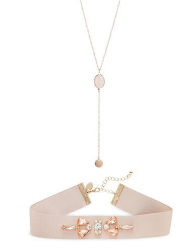 Expression Two-Piece Choker and Necklace Set-PINK-One Size