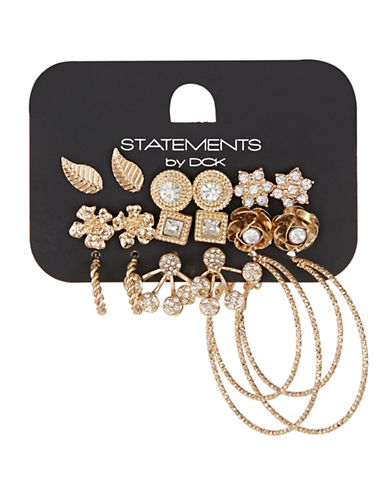 Expression Nine Pack Floral Stud Set-GOLD-One Size