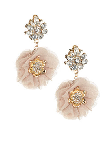 Expression Double Floral Fabric Drop Earrings-PINK-One Size