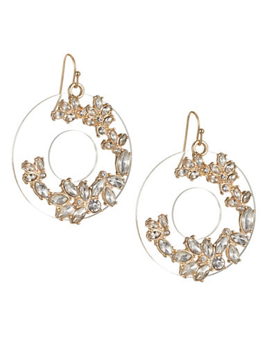 Expression Disc Drop Navette Stones Drop Earrings-GOLD-One Size