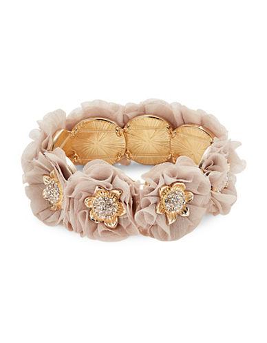 Expression Chiffon Flower Stretch Cuff Bracelet-PINK-One Size