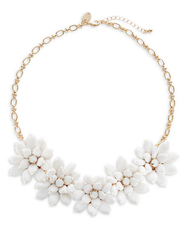 Expression Five-Flower Frontal Necklace-WHITE-One Size