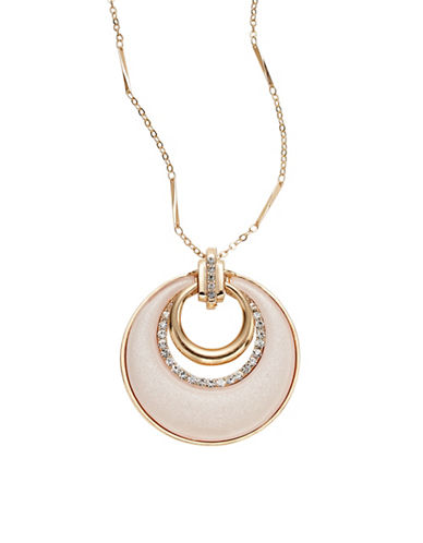 Expression Drop Ring with Stones Pendant Necklace-PINK-One Size