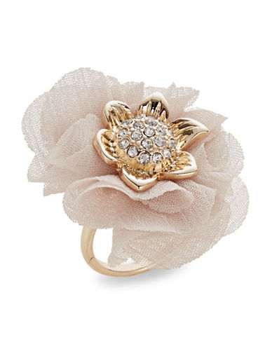 Expression Flower Chiffon with Inner Stones Ring-PINK-One Size
