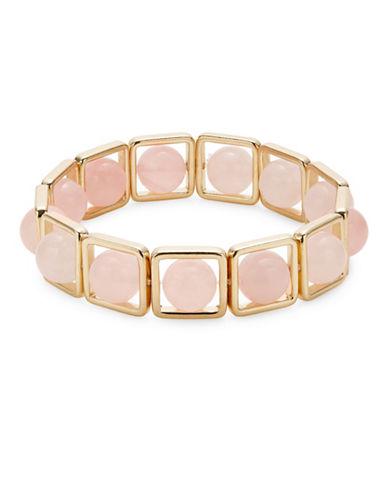 Expression Square Semi-Precious Stretch Bracelet-PINK-One Size
