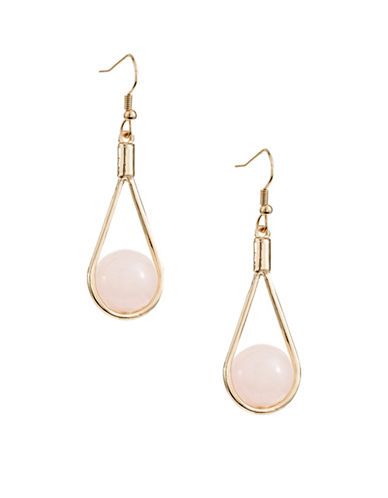 Expression Teardrop Frame Earrings with Semi-Precious Stones-PASTEL-One Size