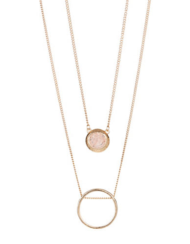 Expression Two-Row Circle Pendant Necklace-PASTEL-One Size