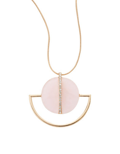 Expression Long Semi-Precious Half-Moon Pendant Necklace-PASTEL-One Size