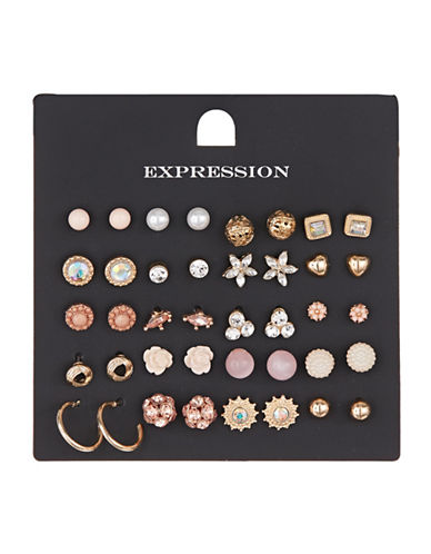 Expression 20 Pack Floral Heart Stud Set-ASSORTED-One Size
