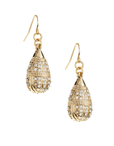 Expression Stone Teardrop Earrings-GOLD-One Size