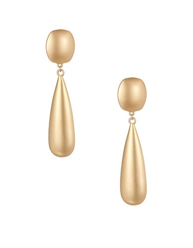Expression Square and Teardrop Dangly Earrings-GOLD-One Size