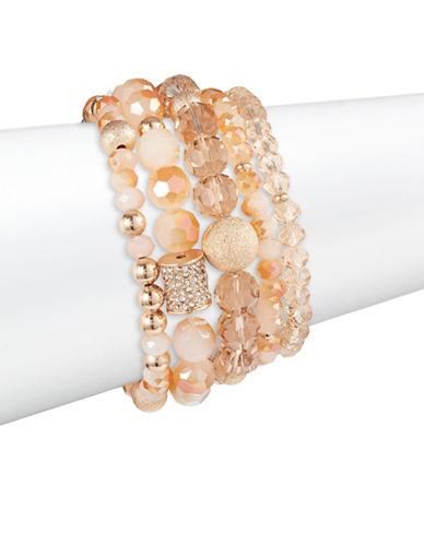 Expression Five-Pack Beaded Stretch Bracelets-ORANGE-One Size