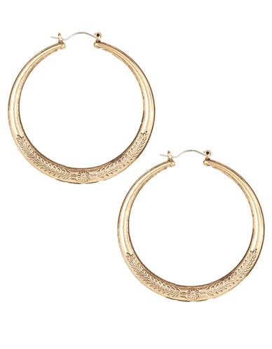 Expression Embossed Large Hoop Earrings-GOLD-One Size