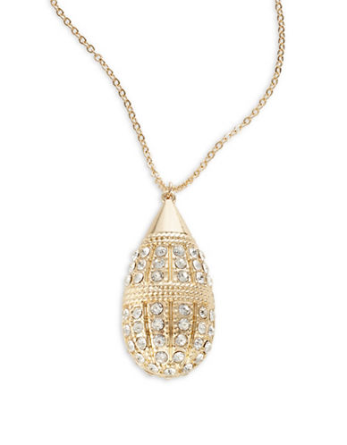 Expression Pave Teardrop Pendant Necklace-GOLD-One Size
