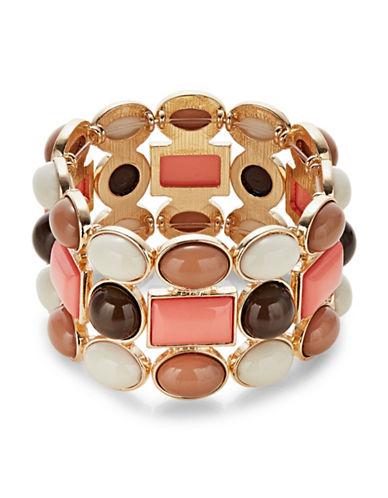 Expression Three-Row Multi Stone Stretch Bracelet-MULTI-One Size