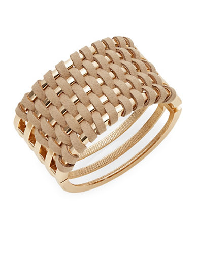 Expression Laced Hinged Bangle Bracelet-BROWN-One Size
