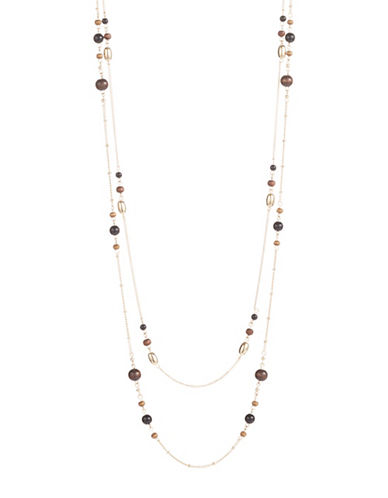 Expression Two-Row Beaded Necklace-BROWN-One Size