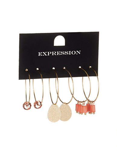 Expression Three-Pack Accented Hoop Earrings-ORANGE-One Size