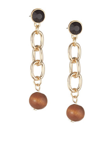 Expression Stone and Wood Linear Drop Earrings-BLACK-One Size
