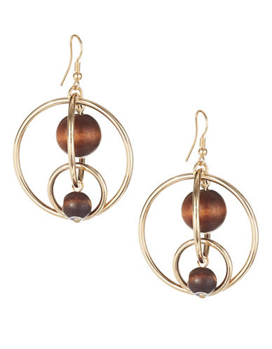 Expression Wood Bead Orbital Hoop Earrings-GOLD-One Size