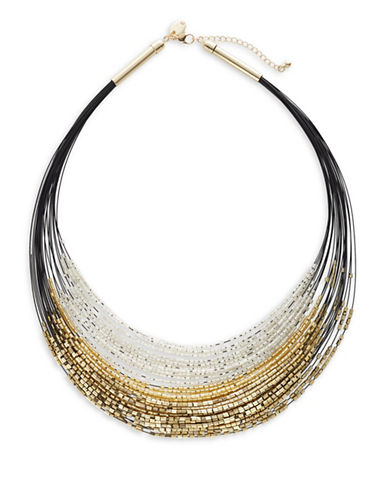 Expression Multi-Row Beaded Wire Necklace-MULTI-One Size