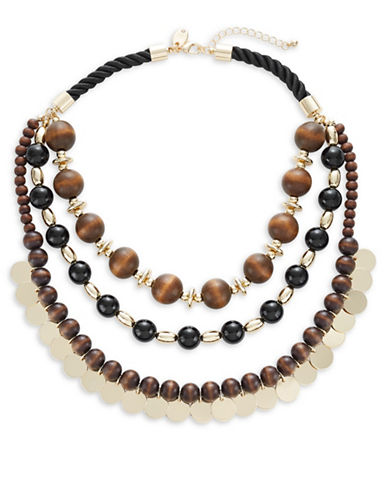 Expression Three-Row Bead and Disc Statement Necklace-MULTI-One Size