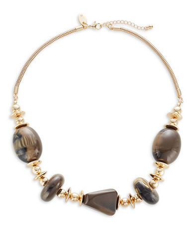 Expression Tortoise-Look Beaded Necklace-BROWN-One Size