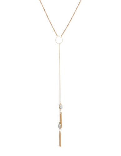 Expression Drop Crackle Stone and Tassle Choker Necklace-GOLD-One Size