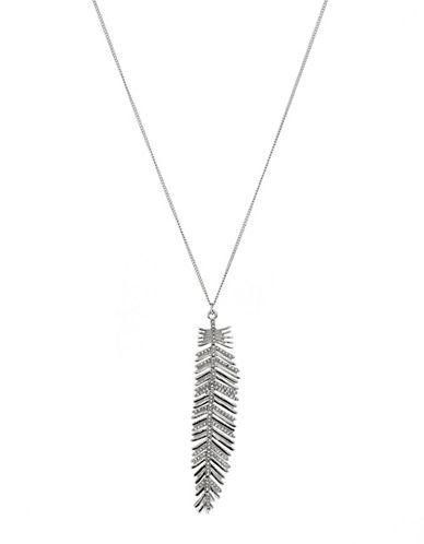 Expression Rhinestone Leaf Pendant Necklace-SILVER-One Size