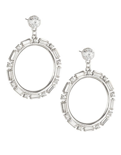 Expression Stone Surround Drop Hoop Earrings-SILVER-One Size
