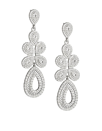Expression Pave Teardrop Statement Earrings-SILVER-One Size