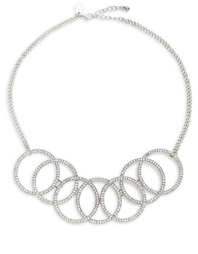 Expression Rhinestone Linked Rings Frontal Necklace-SILVER-One Size