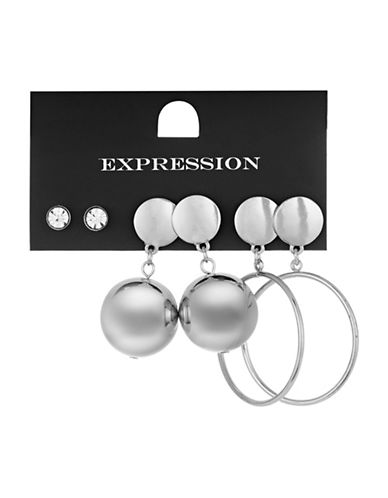 Expression Three-Pack Assorted Earrings Set-SILVER-One Size