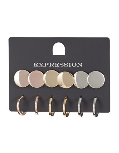 Expression Six-Pack Disc and Hoop Earrings Set-ASSORTED-One Size